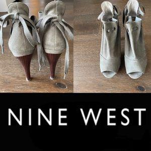 "Nine West ""nwhrdley"" green peep toe heeled bootie"
